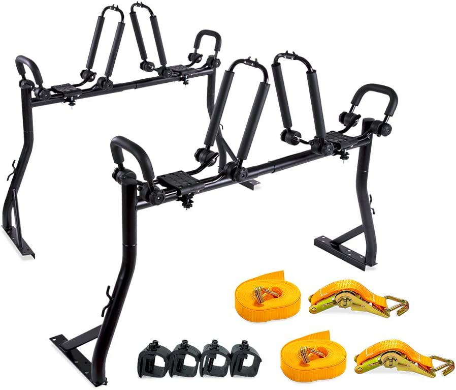 AA Products Double Folding J-Bar Rack for Kayak Carrier Canoe Boat Paddle Board Surfboard Roof Top Mount on Car SUV Truck Crossbar with Ratchet Lashing Straps /& Bow and Stern Tie Down Straps