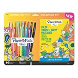 Paper Mate Flair Felt Tip Pens, Medium Point, Assorted Colors with Positive Postcards Adult Coloring Book, 17 Count