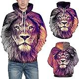 Men Autumn Sweatshirt Tops, Malbaba Lion Printing Long Sleeve Hooded Sweatshirt Top Blouse Men's Lion Pocket Hoodie Tops (L/XL, Lion Printed)