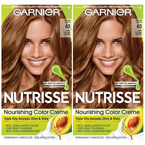 Garnier Hair Color Nutrisse Nourishing Creme, 63 Light Golden Brown (Brown Sugar), 2 Count