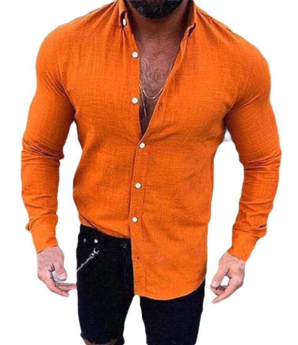 Mens Beach Yoga Tops Long Sleeve Cotton Linen Button Down Shirt
