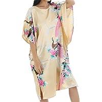 lutratocro para mujer cuello redondo estilo chino de satén pijamas camisones ranura nightgowns