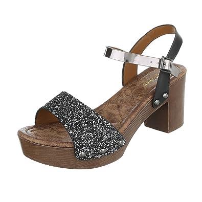 Ital Design High Heel Sandaletten Damenschuhe Blockabsatz Heels Schnalle Sandalen &