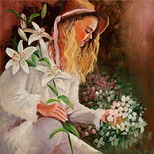 (Springtime White, Figure Painting Girl With Spring Garden White Flowers and Dress By Yary Dluhos.)