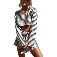 1f575f2fbe8c Sunward Women s 2 Piece Outfits Casual Stripe Crop Tops Shorts Set Beach Rompers  Playsuits