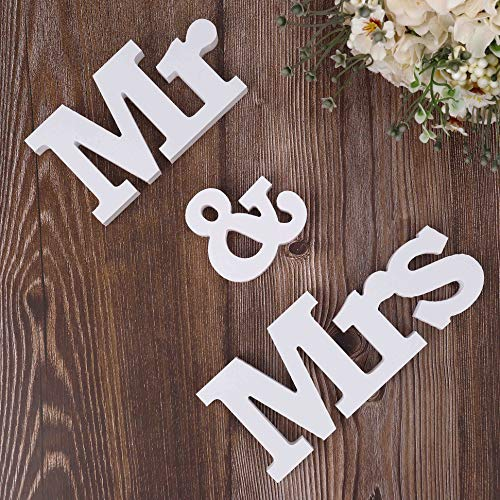MXKJ-STORE Mr and Mrs Sign Wedding Sweetheart Table Decorations, Decorative Letters for Party Table Top Dinning Tables, Photo Props, Banner, Bridal Shower Gift -