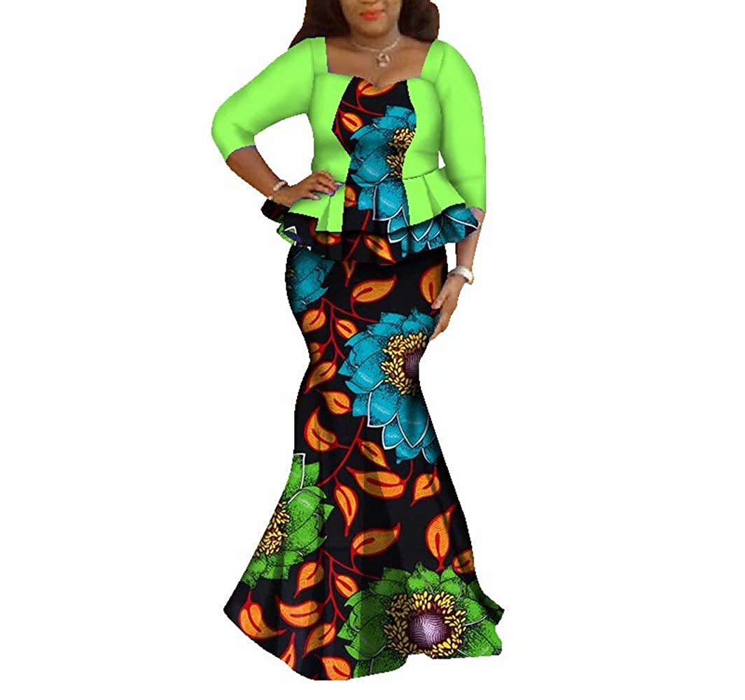24fs1084 BintaRealWax Womens Elegant African Skirts Set 2 Piece Ankara Peplum Tops & Mermaid Skirt