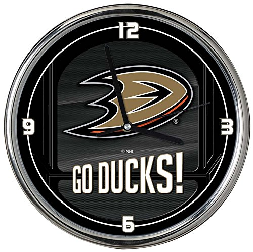 The Memory Company NHL Anaheim Mighty Ducks Go Team! Chrome Clock, One Size, Multicolor from The Memory Company