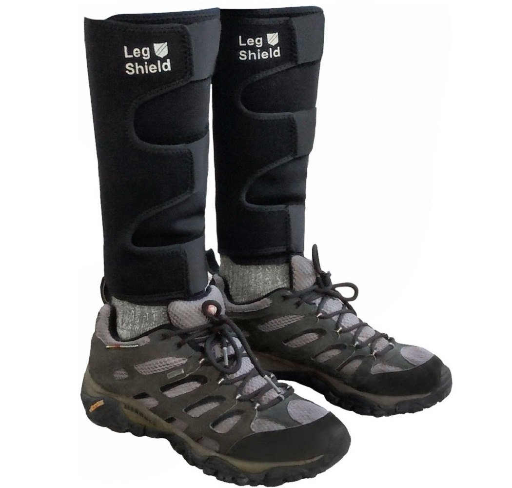 Neoprene Leg Gaiters - Unique Hook and Loop Fastener Design for Easy On/Off - For Outdoors, Hiking, Hunting, Biking, and General Shin/Calf/Skin Protection - Windproof, Water Resistant, Snug Fit (Pair) by Leg Shield