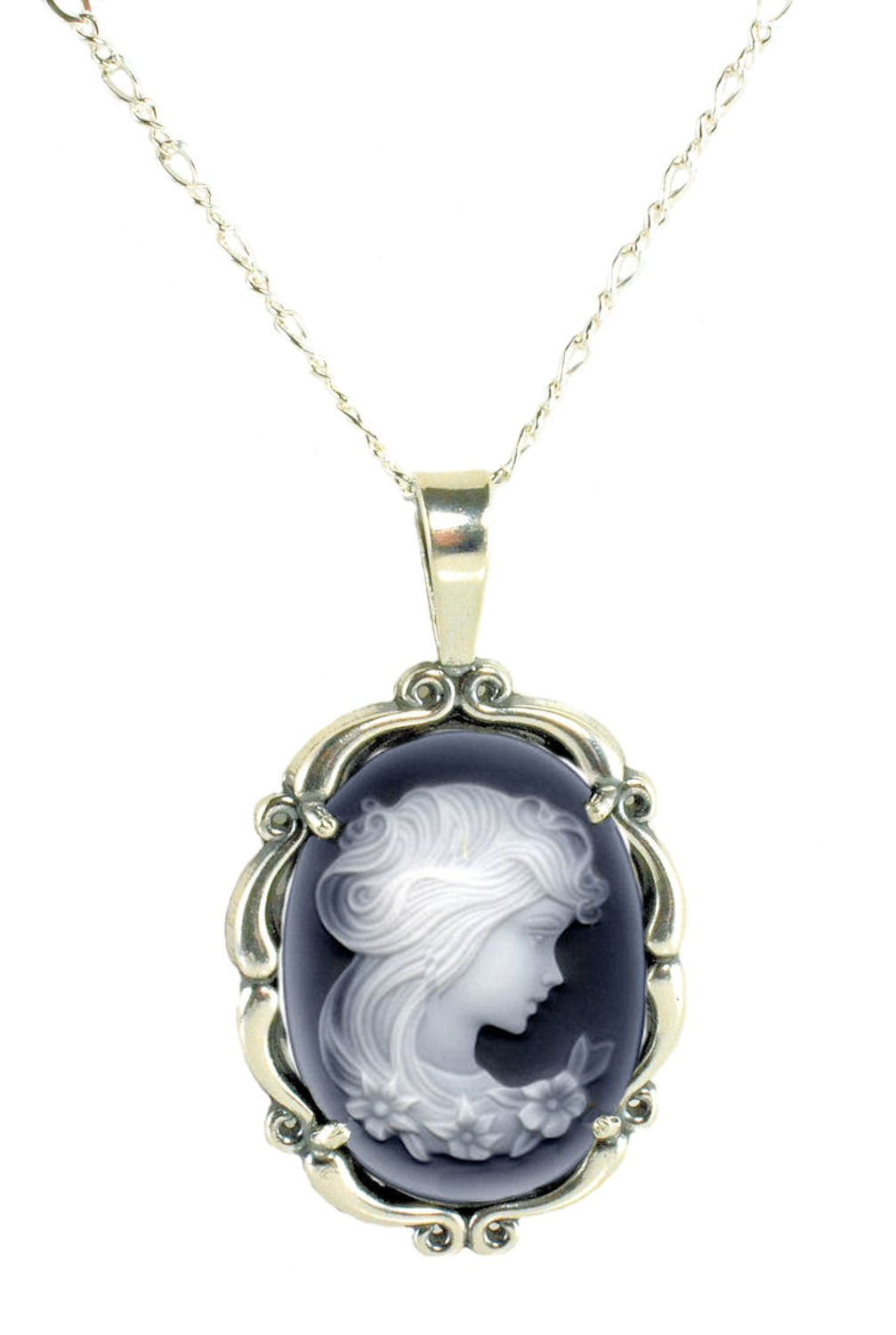 Sterling Silver Vintage Style Large Agate Cameo Pendant with Chain