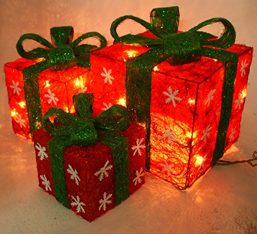 Emlyn Set of 3 Lighted Holiday Gift Boxes Snowflakes Red ...