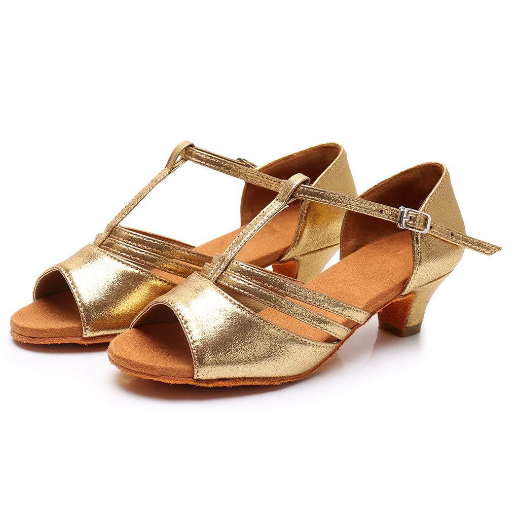 ★QueenBB★ Girls Soft-Sole Satin Ballroom Shoes Latin Salsa Dance Shoes Ballroom Party Ballroom Wear (Little/Big Kid) Gold