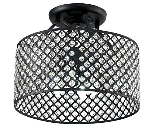 Black Crystal Ceiling Light (New Legend Lighting Antique Black Finish Round Shade Crystal Semi-Flush Mount Chandelier 4-light Ceiling Fixture)