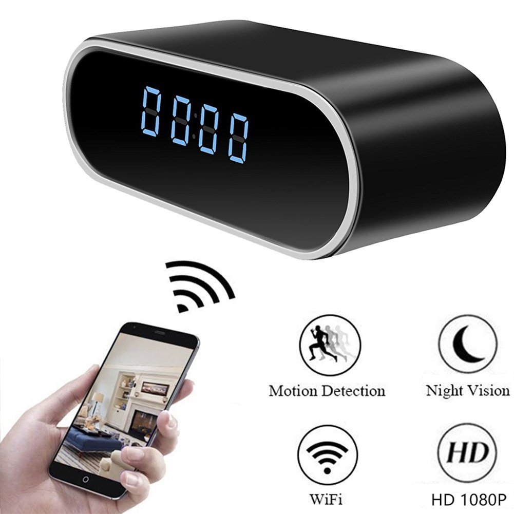 Moosoo WiFi Hidden Spy Camera Clock Night Vision Motion Detection Alerts Mini Alarm Clock Wireless IP Security Camera Baby Pet Monitor Nanny Cam Real-time Home Surveillance Cameras for iOS/Android/PC