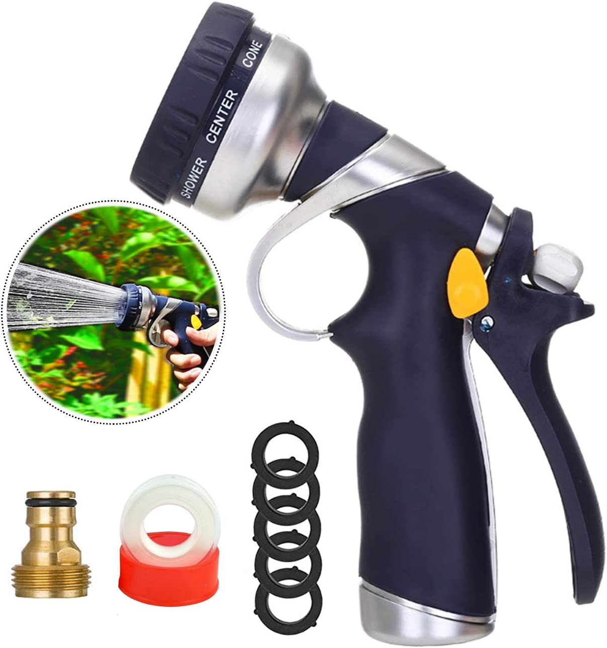 Garden Water Hose Nozzle, Spray Nozzle for Hose, High Pressure Hose Nozzle, Heavy Duty Water Spray 8 Patterns for Watering Plants, Lawns, Car Washing & Pets Showering