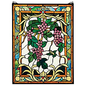 Stained Glass Panel - The Grape Vineyard Stained Glass Window Hangings - Window Treatments