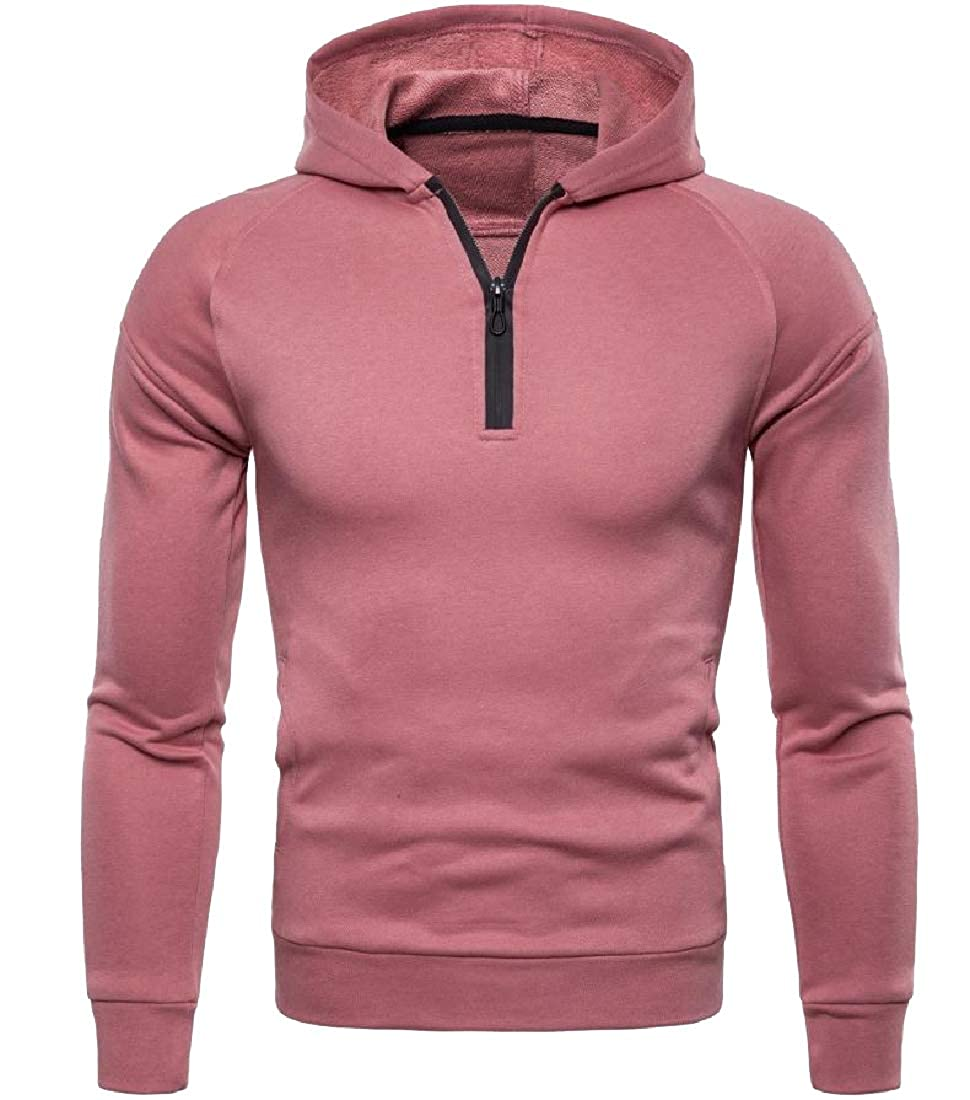 Abetteric Men Unlined Large Size Pure Color Jersey Pullover Hood