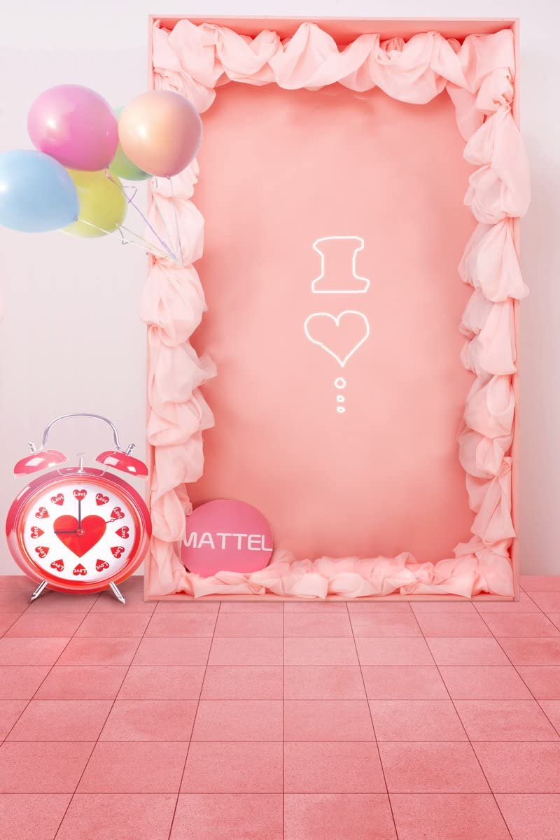 59 IN Pink Floor Balloon W H Computer Printed photography Background Backdrop 98.4 IN