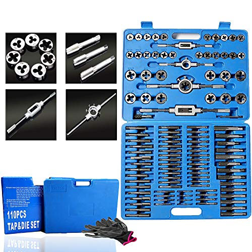 110 Piece Combination Tap and Die Set Alloy Steel 50°- 60° Metric Tools with Carrying Case + Free Glove Amazing Tour by FunTrip (Image #1)