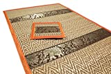 Set of 6 Elephant Pattern Handmade Dinner Reed Placemats and Coaster Set 12''x16'' Orange Color