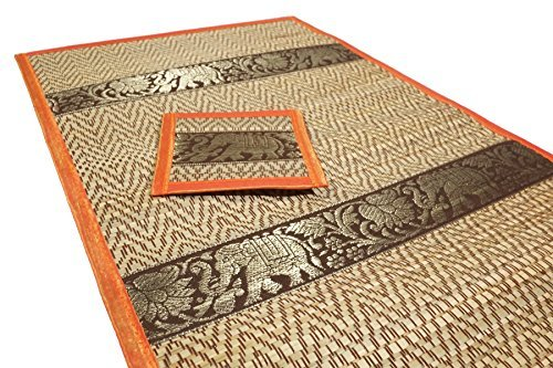 Set of 6 Elephant Pattern Handmade Dinner Reed Placemats and Coaster Set 12''x16'' Orange Color by cozymomo