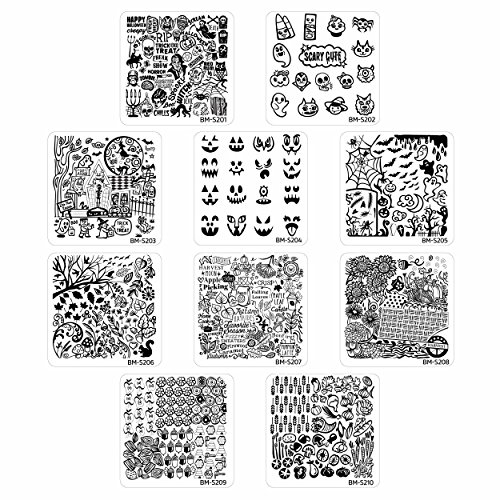 Bundle Monster 10pc Holiday Themed Nail Art Stamping Plates - Occasions Collection, Halloween +