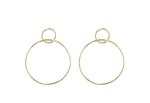 b4de18bb93a2e Jules Smith Circle Hoop Earrings - Large Dangle Hoop Earrings for Women -  14k Gold, Rose Gold or Sterling Silver Double Circle Hoop Earrings -  Classic ...