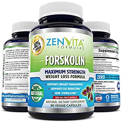 100% Pure Forskolin w/ 40% Standardized Extract, 90 Capsules, 300 mg, Appetite Suppressant, MAX Strength Belly Fat Burner, Carb Blocker, Natural Weight Loss Supplement. 100% Money Back Guarantee! No Risk - Lose Weight or Your Money Back by ZenVita Formula