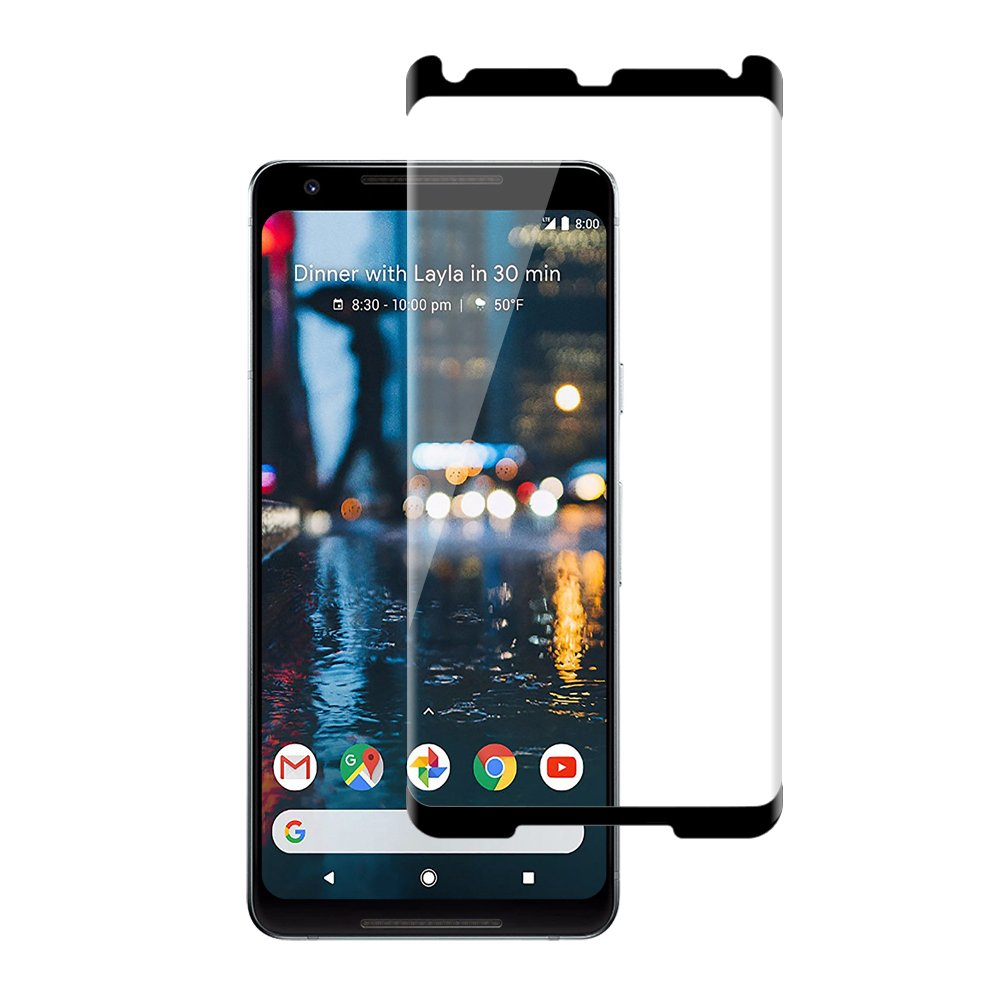 Glass-M Google Pixel 2 XL Tempered Glass Screen Protector, Ultra HD Clear, Scratch Resistant, Bubble Free, 9H Hardness, Anti-Fingerprint, Case-Friendly, 3D Touch Compatible Screen Protector - Black
