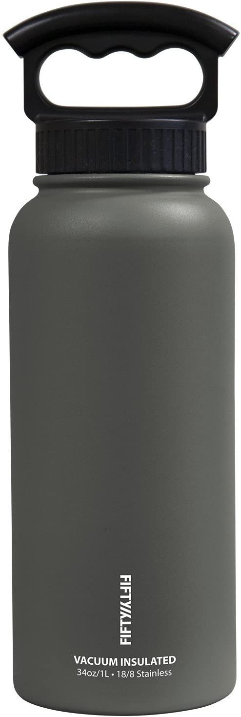 FIFTY/FIFTY Vacuum-Insulated Stainless Steel Bottle with Wide Mouth - 34 oz. Capacity - Slate Grey