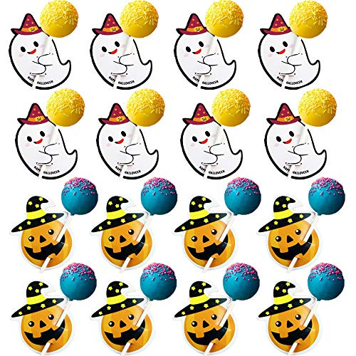 100Pcs Lollipop Candy Paper Cards Set, Messar Cute Halloween Ghost Pumpkin Paper Card Seat Labels DIY Sugar Candy Lollipop Decoration Card Set for Halloween Wedding, Birthday, Baby Shower and Xmas Par -