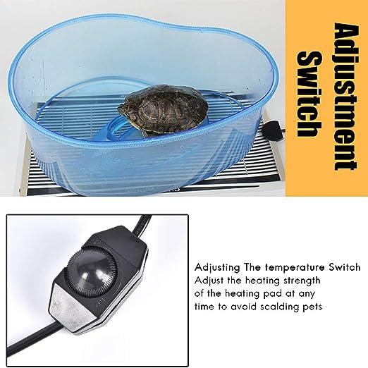 Surenhap Heating Mat Terrario, Pet Terrarium Heating Calefactor Reptil Anfibios con Enchufe de la UE y Controlador de Temperatura Ajustable Chapa térmica ...