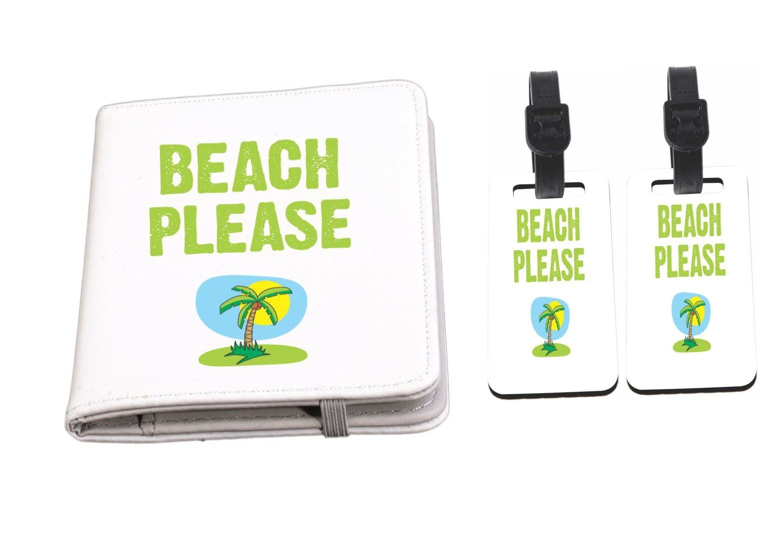 Rikki Knight Beach Please Passport Holder with slots for Travel documents with 2 matching (1-sided) Luggage Identifier Tags