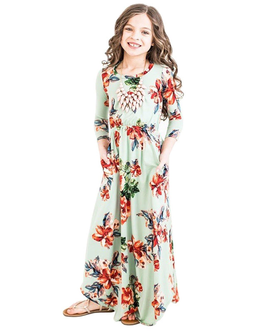 JYH Girls Maxi Dress, Floral Flared Sewing Pocket Three-Quarter Sleeves Long Dress Size 5-12 by JYH