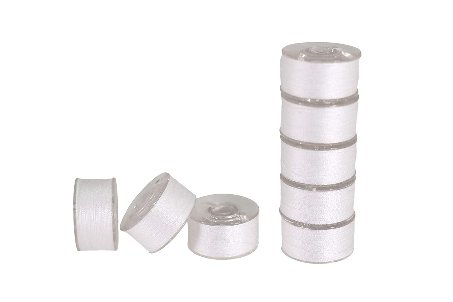 LIN 144 Pieces of White 15//A 156 A 90wt Polyester Spun Prewound Thread Bobbins for Embroidery Sewing Machines Complete with 8 Bobbin Buddies