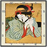 3dRose dpp_62455_1 1850 Japanese Portrait Painting of Woman Wall Clock, 10 by 10-Inch For Sale
