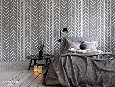 Self Adhesive Removable Vinyl Wallpaper with weaving braids chevron illustration, great for Bedroom, Living Room & Bathroom wall decor, Peel and stick application CC004