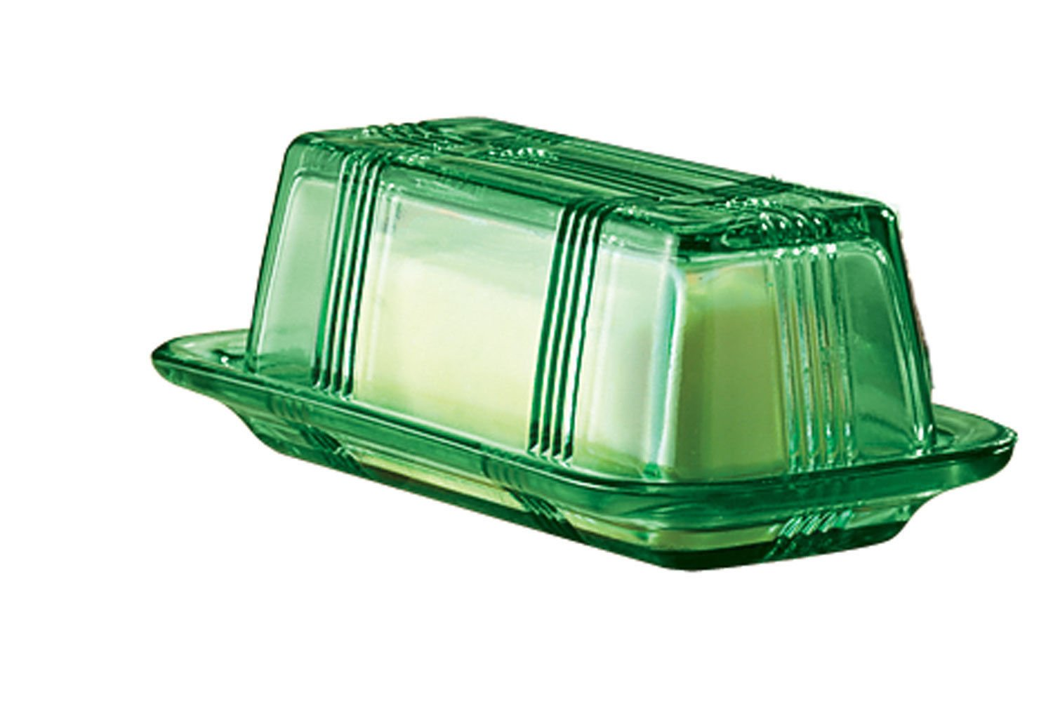 Depression Style Glass Butter Dish, Classic Green