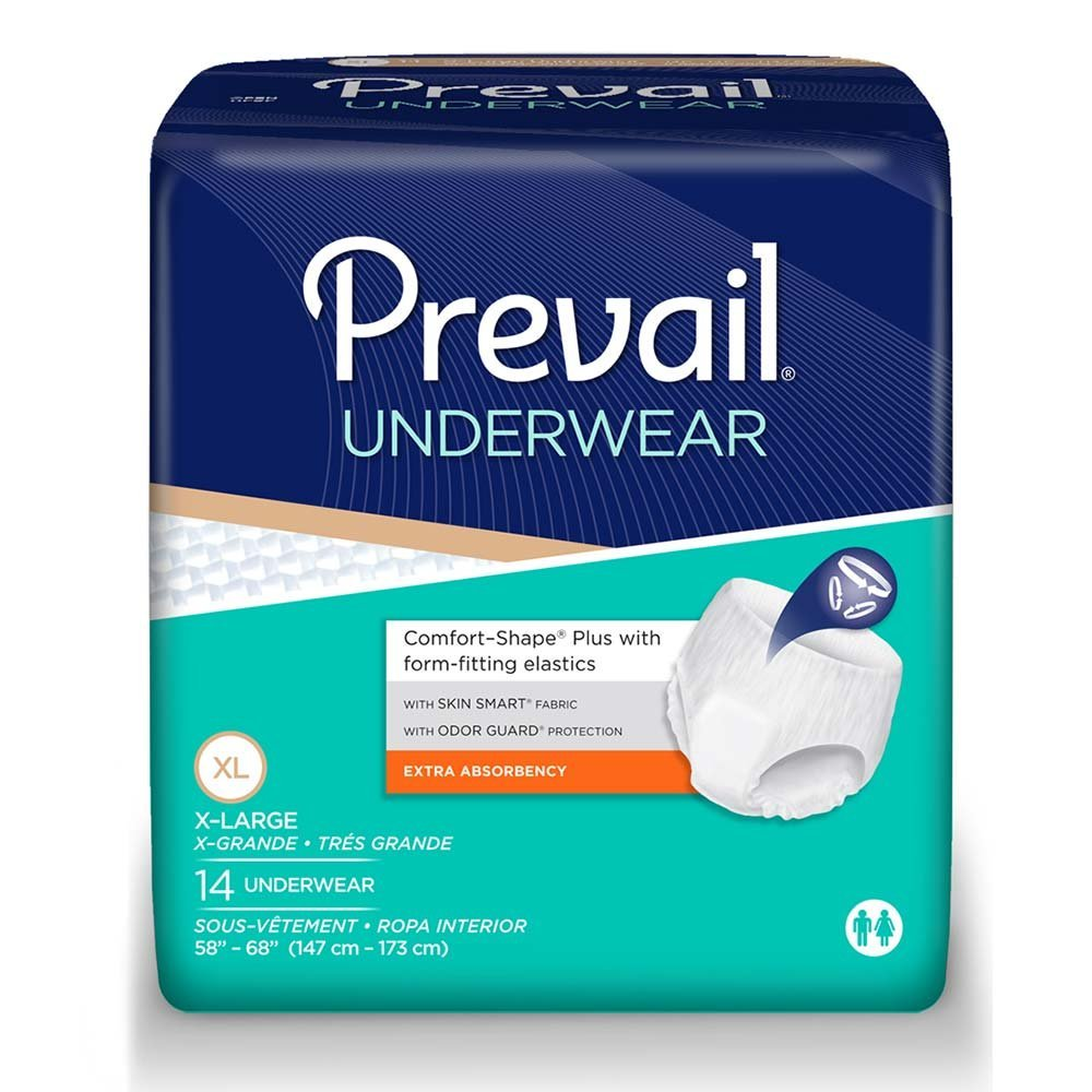Prevail Underwear, Extra Absorbency, X-Large, Case/56 (4/