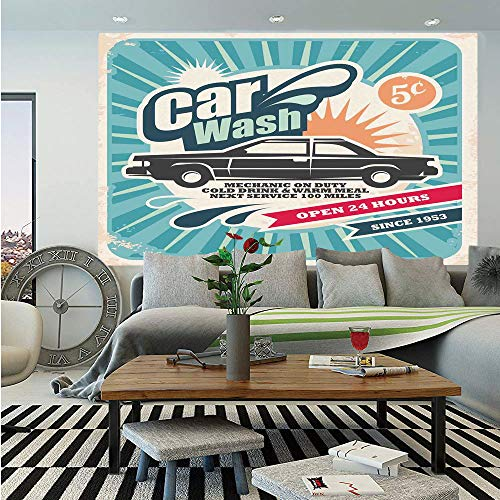 - SoSung 1950s Decor Removable Wall Mural,Retro Car Wash Auto Service Repair Poster Style Art in Vintage Color Classic Design Print,Self-Adhesive Large Wallpaper for Home Decor 66x96 inches,Multi