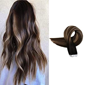 Full Shine Tape Hair Extensions Human Hair Black #1B Hair Shadow Roots Ombre Dye Color #4 Highlighted #18 Mixed Highlight Double Sided Adhesive Glue On 18inch Brazilian Remi Hair Seamless Tape On Hair