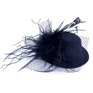 Hair Accessories Mother & Kids 1 Pcs Hair Clip Costume Hair Band Accessories Lady Mini Feather Rose Top Hats Cap Lace Fascinator