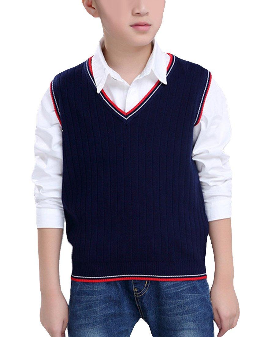 MFrannie Boys V Collar Pure Color School Wear Spring Vest Sweater Navy 4T