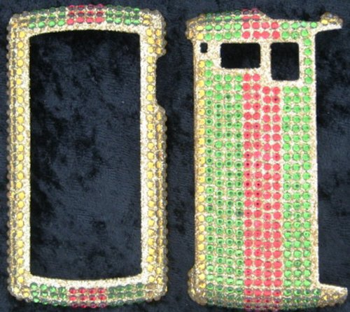 FULL DIAMOND CRYSTAL STONES COVER CASE FOR SANYO INCOGNITO 6760 GREEN RED STRIPES ON - Faceplates Hard Sanyo
