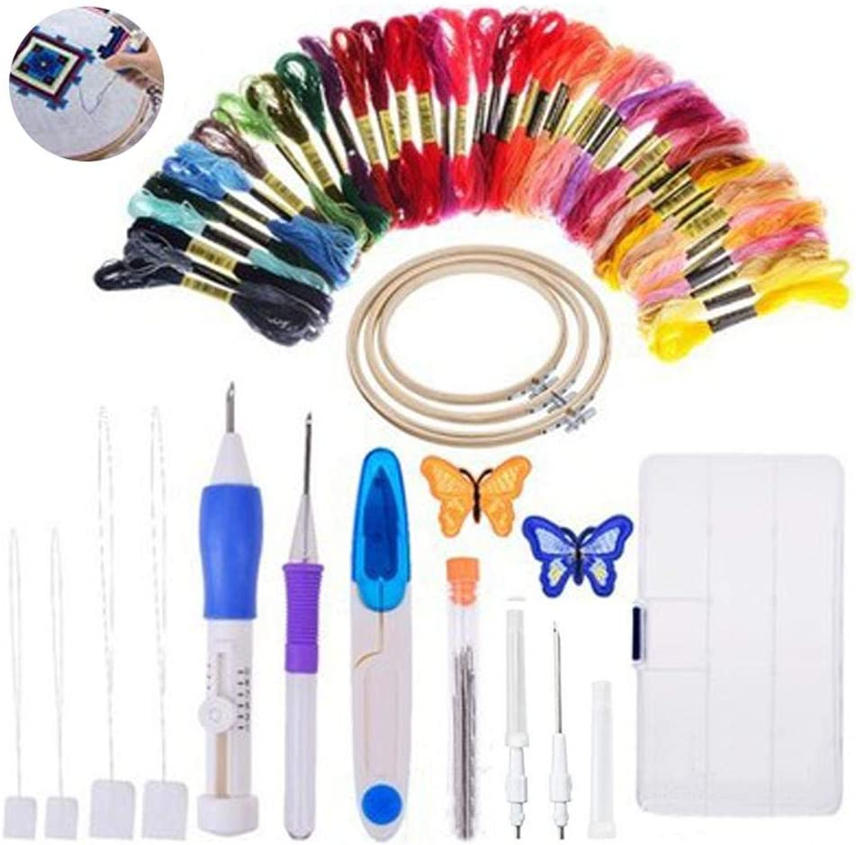 xiangpian183 Juego de bolígrafos de Bordado mágico, 74 Piezas de Hilos de Bordado Multicolor Kit de Herramientas de artesanía de Aguja de punzonado para Cruz de Costura DIY