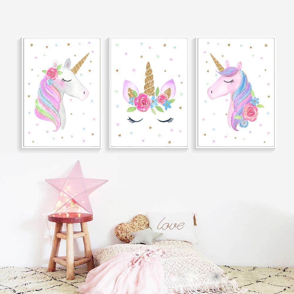 70 cm Dessin anim/é Rose Or Licorne Wall Art Believe in Licornes Affiche Imprimer Toile Peintures Pop Image Fille Chambre D/écor 50