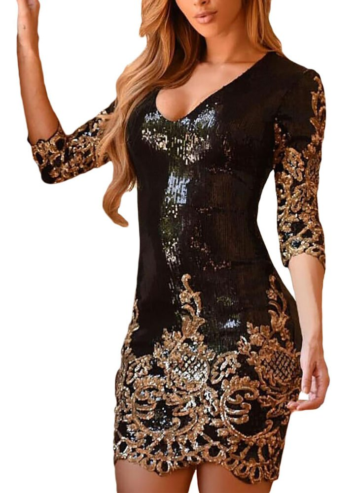 made2envy V Neck Sparkling Sequins 3/4 Sleeves Bodycon Mini Dress (M, Gold) LC22794MG