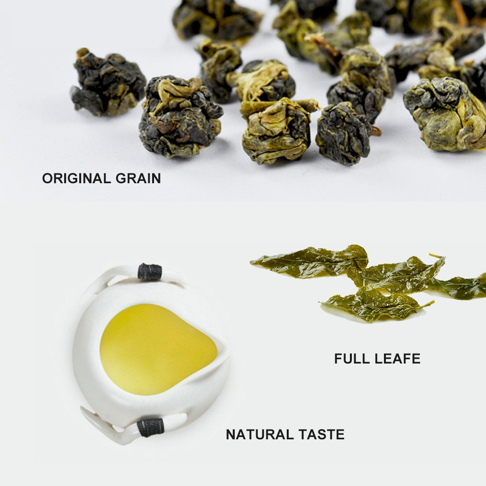Yan Hou Tang Organic Taiwan Grey Oolong Tea Cooked Thick Flavor Mellow Taste 65% Ferment Ripe Loose Leaf Formosa High Mountain Wulong Grown Medium Caffeine Fall Nice with Mike and Sugar US FDA SGS