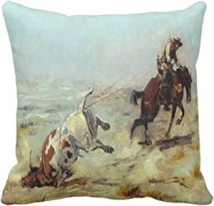 Emvency Throw Pillow Cover Cowgirl Vintage Western Cowboy Roping Steer Rodeo Decorative Pillow Case Home Decor Square 18x18 Inch Pillowcase