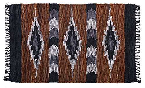 HF by LT Snake River Canyon Handwoven Leather Rug, 27'' x 45'', Multi-Colored by HOME FURNISHINGS BY LARRY TRAVERSO